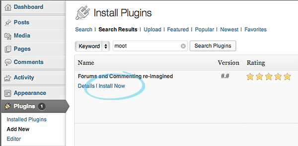 Installation of the Moot WordPress plugin