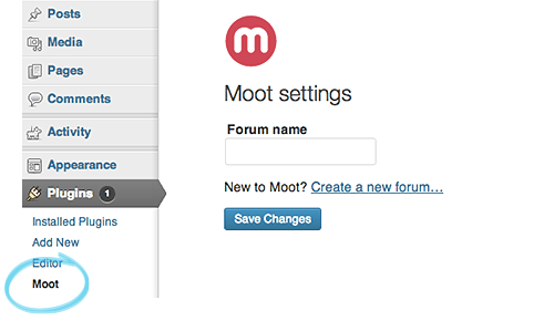 Moot settings for WordPress