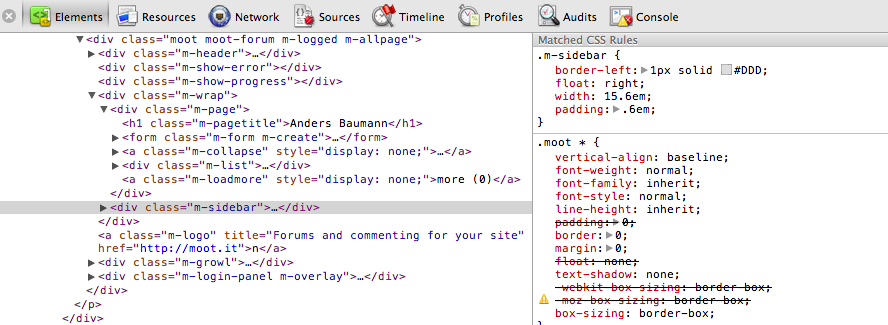 Muut sidebar in Chrome debugger